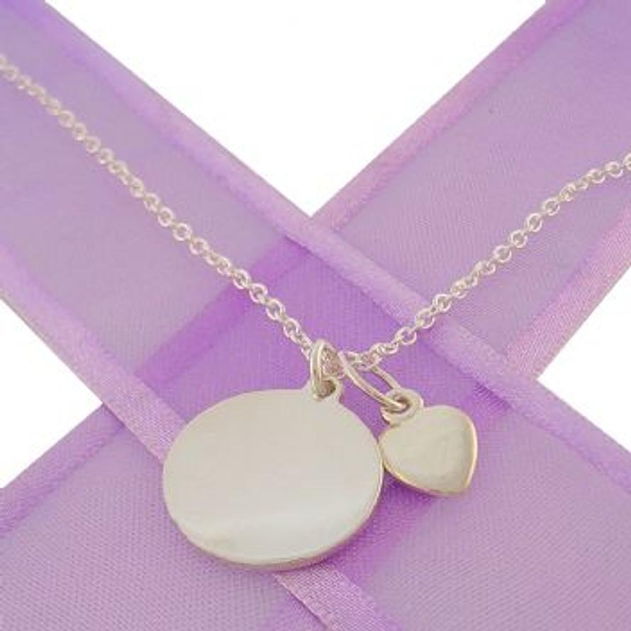 16mm PERSONALISED CIRCLE LOVE HEART NECKLACE