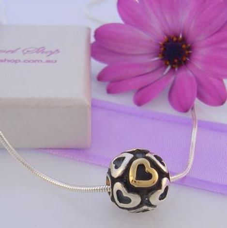 PASTICHE STERLING SILVER 12mm BALL WITH GOLD AND SILVER HEARTS DESIGN NECKLACE