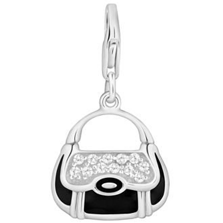 PASTICHE STERLING SILVER 18mm x 20mm BLACK ENAMEL CZ HANDBAG HOOKED ON CLIP CHARM QC036CZBK