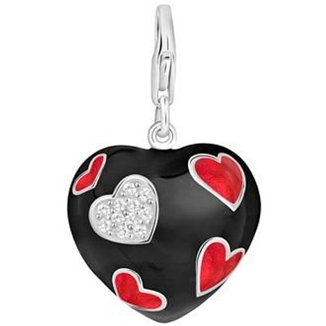 PASTICHE STERLING SILVER 19mm x 19mm BLACK RED CZ HEART HOOKED ON CLIP CHARM QC103CZRD