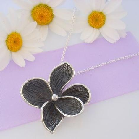 PASTICHE STERLING SILVER 34mm ANTIQUE GREY OXIDISED FLOWER CHARM NECKLACE