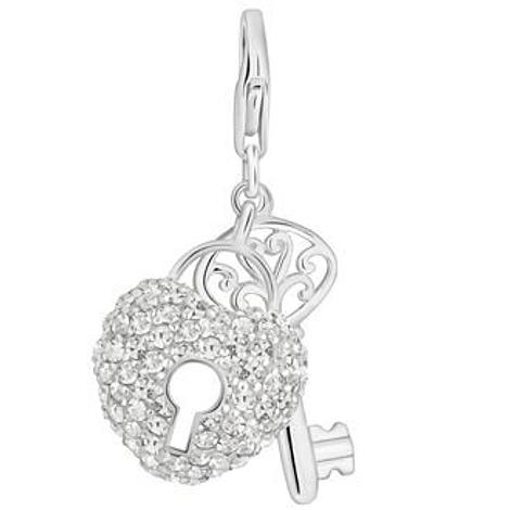 PASTICHE STERLING SILVER CZ KEY TO MY HEART HOOKED ON CLIP CHARM QC202CZ