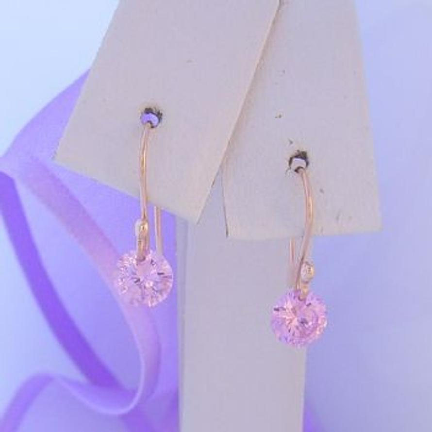 TINY BABY SIZE 9CT ROSE GOLD 5mm PINK CZ DROP HOOK EARRINGS