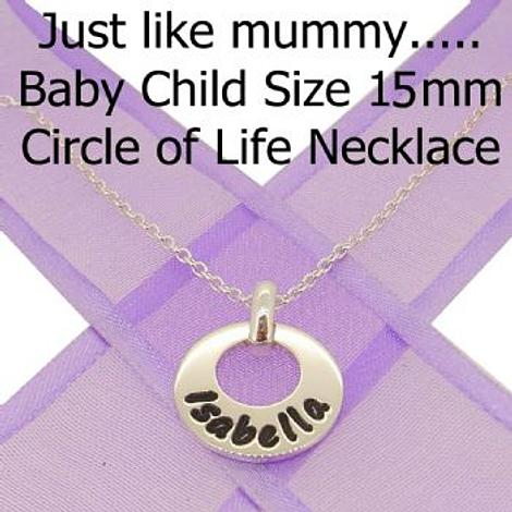 15mm BABY CHILD CIRCLE OF LIFE PERSONALISED FAMILY NAME PENDANT NECKLACE
