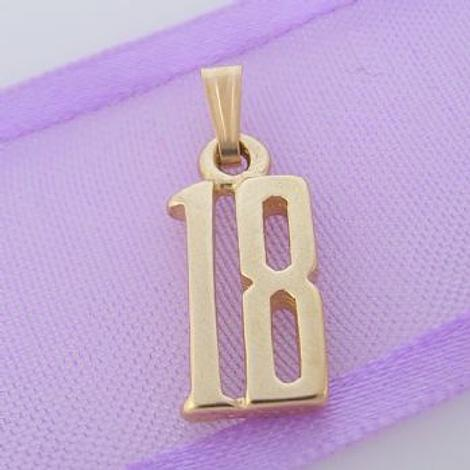 EIGHTEEN 18 18TH BIRTHDAY NUMBER 9CT GOLD CHARM PENDANT -9Y_HR1039