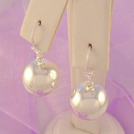 STERLING SILVER 16mm ROUND BALL SAFETY HOOK EARRINGS
