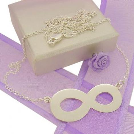 STERLING SILVER INFINITY SYMBOL DESIGN CHARM PENDANT NECKLACE