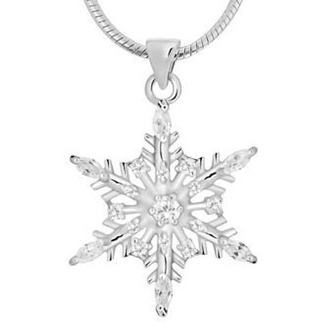 PASTICHE STERLING SILVER 25mm CZ SNOWFLAKE CHARM PENDANT NECKLACE