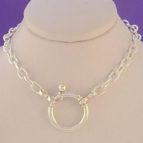 STERLING SILVER CLIP ON CHARM BOLT RING CABLE NECKLACE