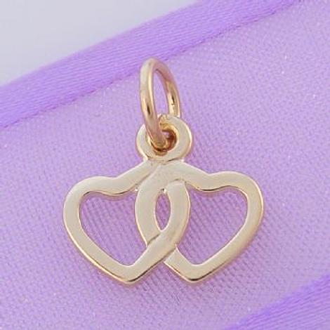 9CT GOLD 13mm TWIN HEARTS CHARM