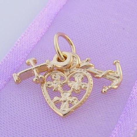 9CT GOLD FILIGREE FAITH HOPE and CHARITY CHARM PENDANT