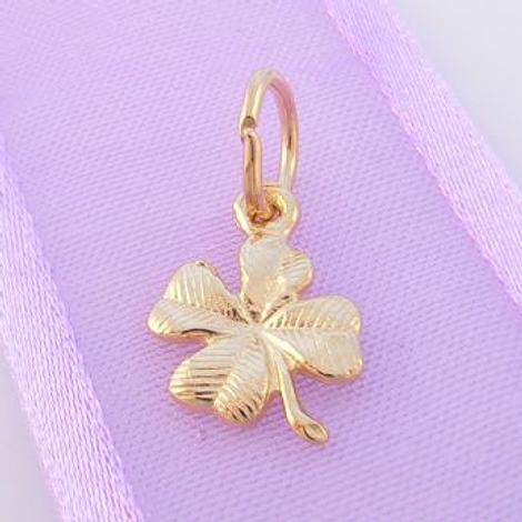 9CT GOLD GOOD LUCK LUCKY FOUR LEAF CLOVER CHARM PENDANT