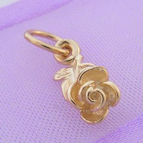 9CT GOLD SMALL 5mm X 12mm ROSE FLOWER CHARM