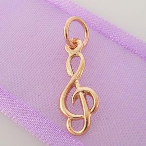 9CT ROSE GOLD 7mm x 17mm MUSIC TREBLE CHARM PENDANT