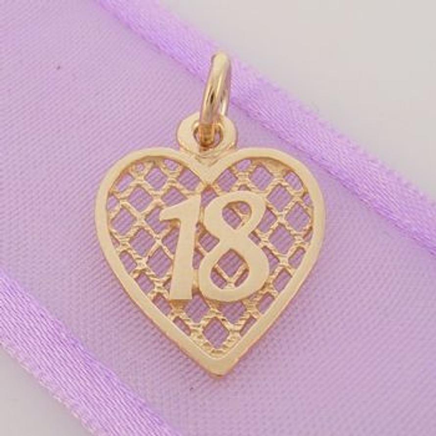 LATTICE BIRTHDAY HEART 9CT GOLD 18 18th CHARM PENDANT 9Y_HR2381