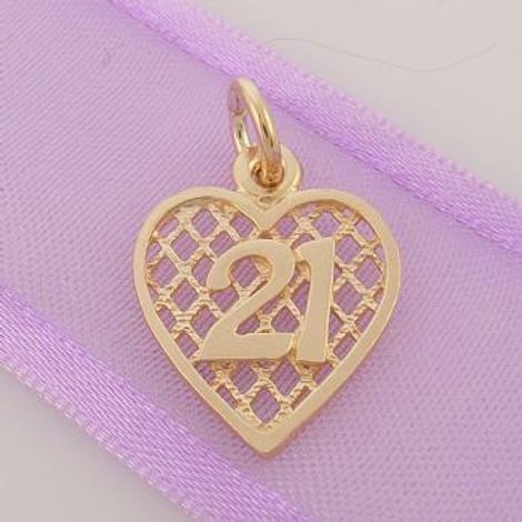 LATTICE BIRTHDAY HEART 9CT GOLD 21 21ST CHARM PENDANT 9Y_HR2382