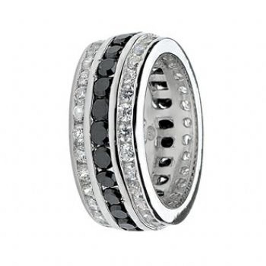 PASTICHE STERLING SILVER 9mm JET BLACK CZ 3 ROW CHANNEL SET RING -R533CZJCZ
