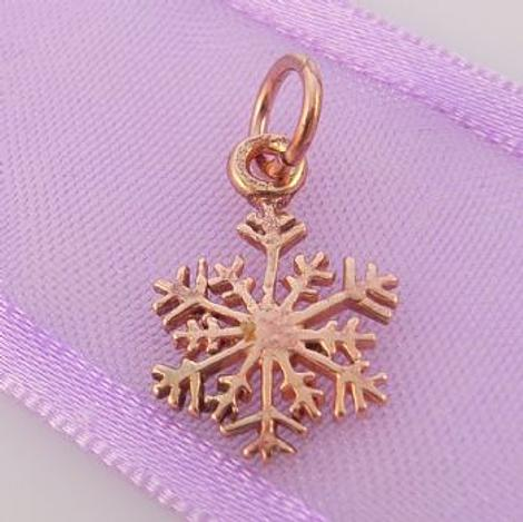 SOLID 9CT ROSE GOLD 10mm CHRISTMAS SNOWFLAKE CHARM -9R_HR3427