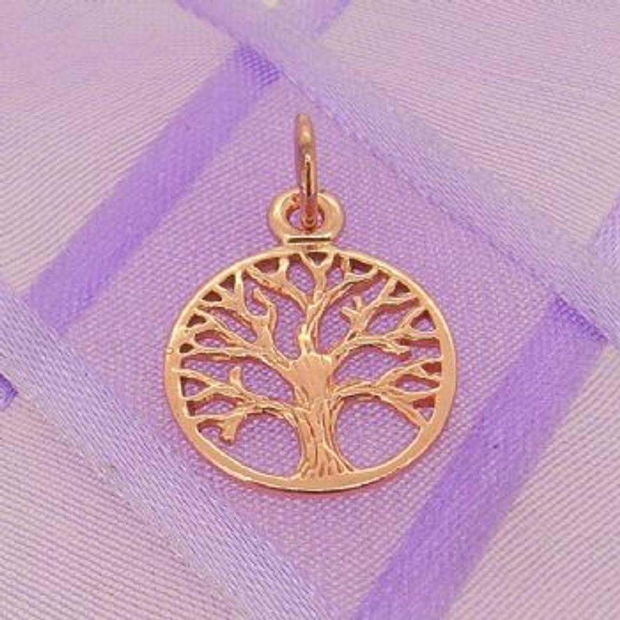 SOLID 9CT ROSE GOLD 14mm TREE OF LIFE CHARM PENDANT - 9R_HRKB52