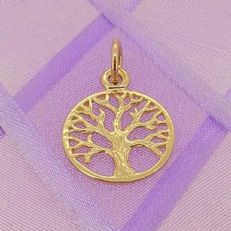 SOLID 9CT YELLOW GOLD 14mm TREE OF LIFE CHARM PENDANT - 9Y_HRKB52