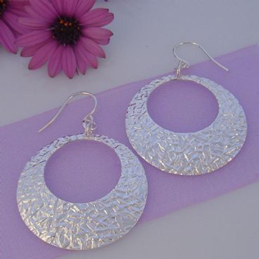 STERLING SILVER 30mm TEXTURED CIRCLE EARRINGS