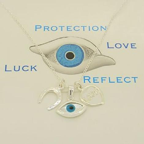 STERLING SILVER EVIL EYE LUCKY HORSESHOE LOVE HEART CHARM NECKLACE