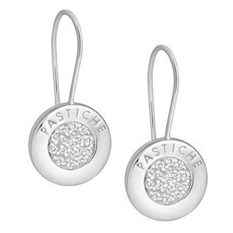 PASTICHE STERLING SILVER 14mm PAVE CZ CHARM EARRINGS