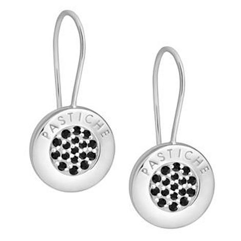 PASTICHE STERLING SILVER 14mm PAVE JET CZ CHARM EARRINGS ME003BK