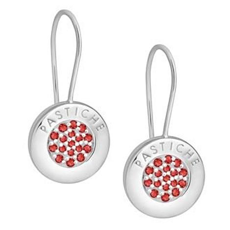 PASTICHE STERLING SILVER 14mm PAVE RED CZ CHARM EARRINGS