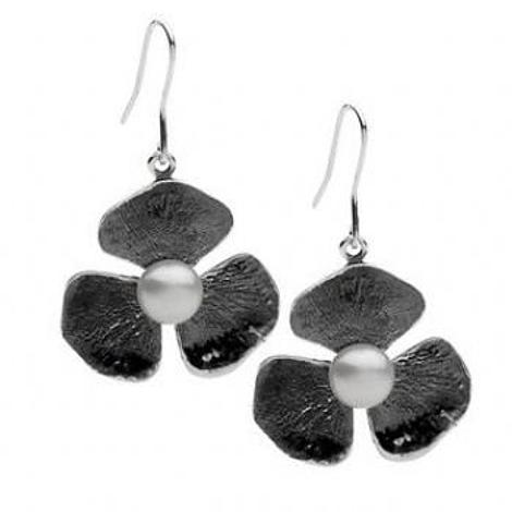 PASTICHE STERLING SILVER VINTAGE OXIDISED FLOWER CHARM PEARL EARRINGS