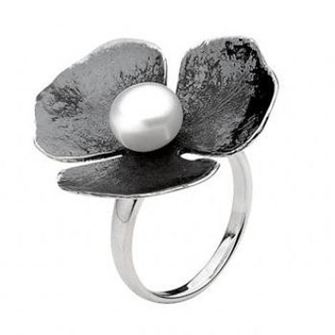 PASTICHE STERLING SILVER 29mm ANTIQUE RUSTIC OXIDISED FLOWER CHARM PEARL RING -R589GOXPL