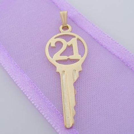 9CT GOLD 11mm x 28mm 21 21st BIRTHDAY KEY CHARM PENDANT