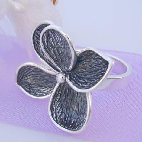 PASTICHE STERLING SILVER 34mm ANTIQUE GREY OXIDISED FLOWER CHARM RING R581GOX