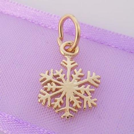 SOLID 9CT YELLOW GOLD 10mm CHRISTMAS SNOWFLAKE CHARM -9Y_HR3427