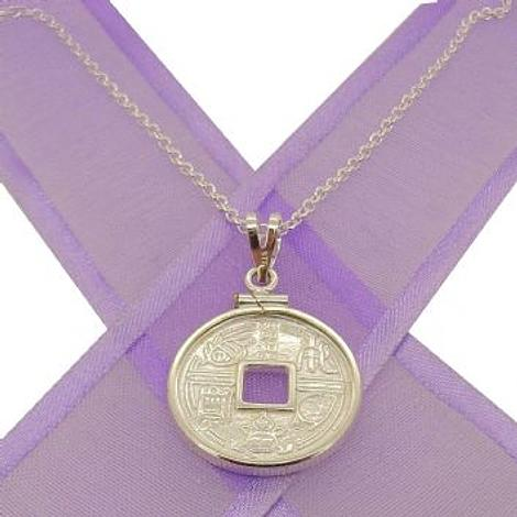 STERLING SILVER 20mm COIN HOLDER CHINESE GOOD LUCK CHARM NECKLACE