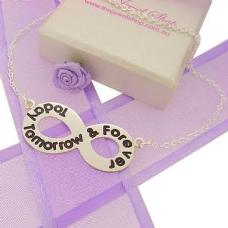 STERLING SILVER INFINITY SYMBOL TODAY TOMORROW & FOREVER DESIGN CHARM PENDANT NECKLACE