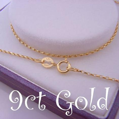 1.2g 9CT YELLOW GOLD 1mm OVAL BELCHER NECKLACE CHAIN
