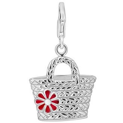 PASTICHE STERLING SILVER 21mm x 24mm FLOWER BASKET HANDBAG HOOKED ON CLIP CHARM QC188RD