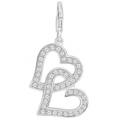 PASTICHE STERLING SILVER 30mm CZ TWIN HEARTS HOOKED ON CLIP CHARM PENDANT QC157CZ