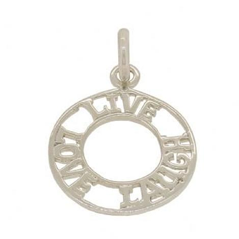 9CT WHITE GOLD 17mm AFFIRMATION LIVE LOVE LAUGH OPEN CIRCLE CHARM