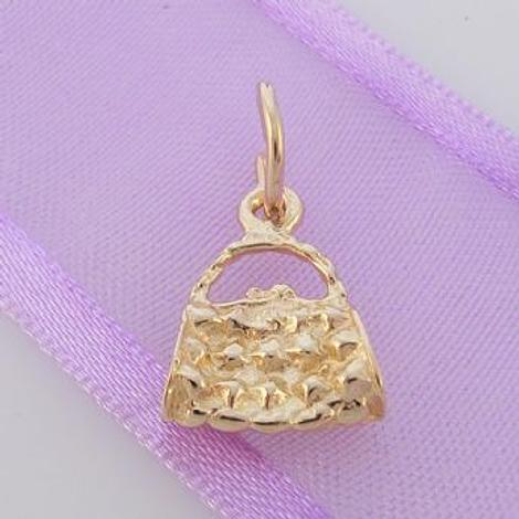 9ct SOLID 9CT GOLD 10mm x 13mm HANDBAG PURSE CHARM PENDANT -9Y_HR563