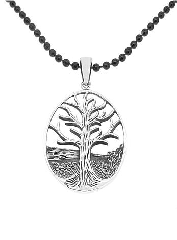 Sterling Silver Oval Tree of Life Charm Black Steel Necklace