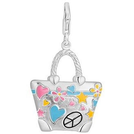 PASTICHE STERLING SILVER 22mm x 27mm ENAMEL HIPPIE HANDBAG HOOKED ON CLIP CHARM QC169