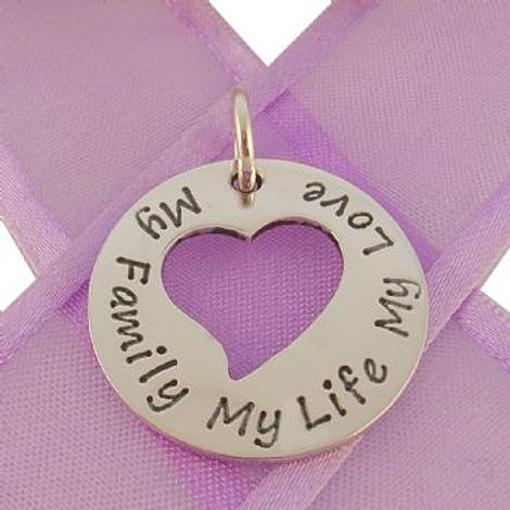 24mm CIRCLE HEART PERSONALISED NAME PENDANT -24mmH-SS