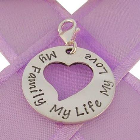 24mm CIRCLE HEART PERSONALISED NAME PENDANT -CH-24mmH-SS