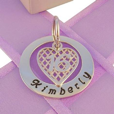 25mm CIRCLE OF LIFE PERSONALISED 16th BIRTHDAY HEART NAME PENDANT -25mm-KB57-HR2381