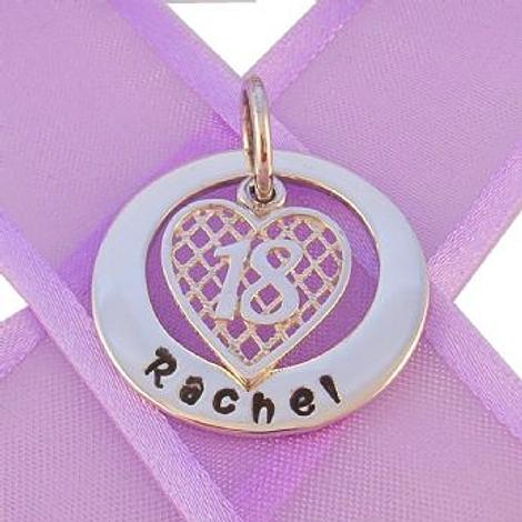 25mm CIRCLE OF LIFE PERSONALISED 18tH BIRTHDAY HEART NAME PENDANT -25mm-KB57-HR2381