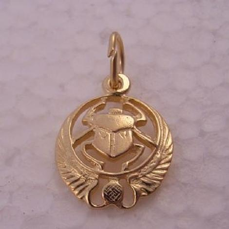 9CT GOLD EGYPTIAN SCARAB SYMBOL RA CHARM PENDANT