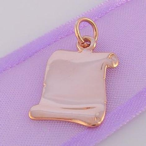 9CT ROSE GOLD 12mm SCROLL CHARM PENDANT