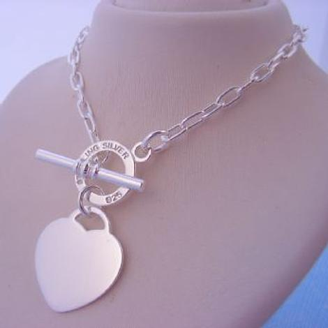 STERLING SILVER TOGGLE 19mm HEART CHARM 3mm NECKLACE